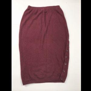 Anthropologie Maroon Wool Blend Pencil Skirt XS